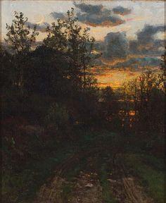 """""""Sunset,"""" John Joseph Enneking, oil on canvas, 12 x 10""""."""