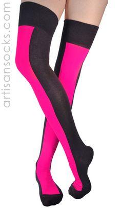 Ozone Neon Pink Racer Stripe Over the Knee Socks - OTK from Artisan Socks www.artisansocks.com