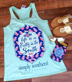 New Simply Southern Tank! Life is a party in south! These are adorable with a monogram on the back (monogramming not provided). Limited supply! Available in small, medium, and large. $19     | Shop this product here: spreesy.com/shopthelittleblackdress/143 | Shop all of our products at http://spreesy.com/shopthelittleblackdress    | Pinterest selling powered by Spreesy.com