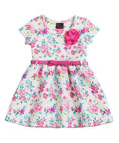 Another great find on #zulily! Pink Floral Belted Cap-Sleeve Dress - Girls #zulilyfinds
