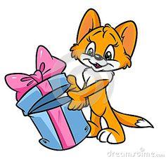 Cat surprise gift cartoon illustration   image animal character