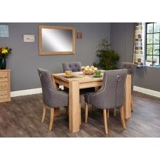 Aston Oak Furniture 4 Seater Dining Table & Upholstered Chair Set