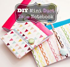DIY duct tape and patterned paper notebooks.