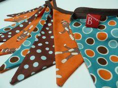 SOCK MONKEY Boys fabric bunting/banner in Orange, Brown and Teal designer fabrics........ $28.00, via Etsy.