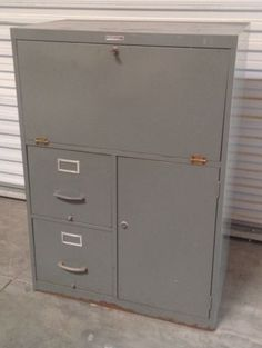 Vtg Metal Industrial Fold Out Desk w Filing Cabinet by Sears | eBay & Vintage Industrial Wood Flat File Print Storage Cabinet Architect ...