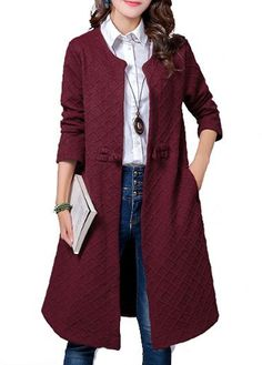Wine Red Pocket Design Long Sleeve Coat on sale only US$34.78 now, buy cheap Wine Red Pocket Design Long Sleeve Coat at lulugal.com