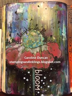 Art Journal by Caroline Duncan - Stampings and Inklings: donna downey stencil, abstract floral, cone flower