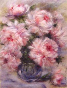 Картина из шерсти Букет Пионов - бледно-розовый,пионы,картина из шерсти