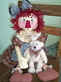 """""""This is one of my top selling doll patterns. Annie and Tucker (purchased Bear) are so close....she takes him everywhere she goes. She wears the cutest homespun dress, with an antique crocheted lace collar, and lace socks. Her facial features and hands are stitched, and she has button eyes. She measures 22\"""" tall, and has the cutest little friend. .♥.♥.♥. Pattern includes instructions for altering a purchased 8\"""" bear. ✻'¨) ¸.*'¸.**'¨) ¸.**'¨) (¸.*' (¸.*'✻ E-Pattern comes with color photos, Cove Crochet Lace Collar, Crocheted Lace, Wool Felt Fabric, Roving Wool, Primitive Doll Patterns, Ann Doll, Raggedy Ann And Andy, Pattern Images, Doll Crafts"""
