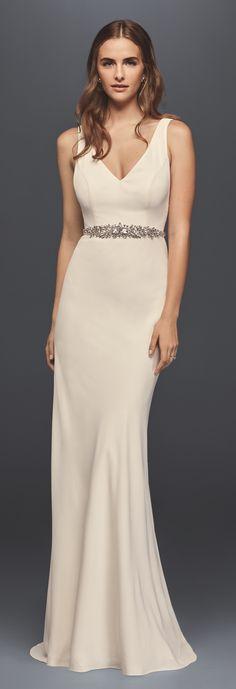David's Bridal Spring 2017 Wedding Dress | Jeweled Crepe Sheath Wedding Dress with Low Back | #davidsbridal #ad
