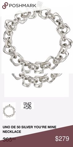 UNO DE 50 SILVER YOU RE MINE NECKLACE Material  SILVER Short silver-plated  large square link chain necklace. With the uniquely unmistakable style of  ... 5c4298daea0bc