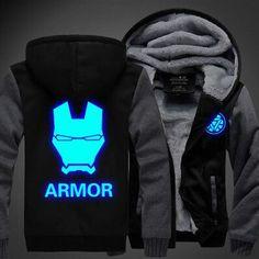 Hot New Iron Man Hoodie The Avengers Logo Winter JiaRong Fleece Mens Sweatshirts Free Shipping