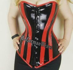 Double Steel Boned Over Bust Waist Training Corset Black Red PVC Extreme Hi-89   eBay Pvc Corset, Underbust Corset, Black Leather Corset, Real Leather, Black Thigh High Boots, Waist Training Corset, Clothes For Women, Collection, Steel