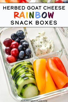 Eat the rainbow with these Herbed Goat Cheese Rainbow Snack Boxes - the perfect meal prep snack idea! Swap in your favorite fruits and veggies to customize! Vegan Snacks, Healthy Snacks, Vegan Recipes, Healthy Eating, Easy Recipes, Healthy Menu, Healthy Kids, Lunch Recipes, Smoothie Recipes
