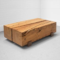 Beam Coffee Table made from reclaimed antique pine beams - from Uhuru