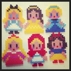 Disney Alice, Belle, Cinderella, Aurora, Snow White and Little Red Riding Hood  hama perler beads by pagey163