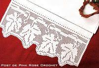 \ PINK ROSE CROCHET /: Barrado Folhas em Crochê Filê