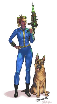 kattanira:  Finished another Vault Dweller today! This time I painted the awesome @vaetilda and Dogmeat! Loved working with this painting.