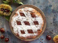 Torta con Farina di castagne e gocce di cioccolato - DOLCI & COCCOLE DI MIKI Strudel, Muffins, Healthy Recipes, Healthy Food, Sweets, Cooking, Desserts, Cheesecake, Drinks