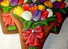 Купить Пряник имбирный Букет тюльпанов - комбинированный, Пряники имбирные, пряничный сувенир, пряничный подарок