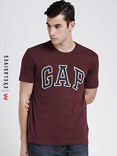 16012a5fae GAP Men's Maroon Logo Crew Neck T-Shirt - | 1349 Latest Mens Wear,
