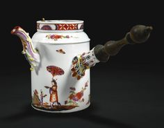 A Meissen hot chocolate pot and cover, circa 1735 painted in the manner of Johann Ehrenfried Stadler, with chinoiserie scenes of figures holding parasols and younger children holding fans, flanked by sprays of indianische-Blumen, the flat cover with an iron-red diaper band reserving polychrome flower heads, the moulded scroll spout and handle terminal picked out in iron-red, yellow and black, with a turned wood handle,