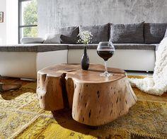 Couchtisch Live-Edge Akazie Natur mit Rollen Baumstamm Möbel Tische Couchtische