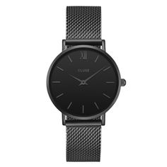 Absolutely fell in love with that Cluse Minuit Full Black with the leather band Suit Shoes, Mesh Bracelet, Cool Watches, Quartz Watch, Fashion Accessories, Black, Jewellery, Jewelry Box, Starry Nights
