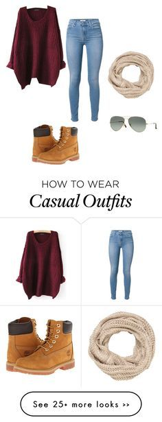 """""""Casual"""" by periwinkledskies on Polyvore featuring 7 For All Mankind, Timberland, maurices and Ray-Ban"""