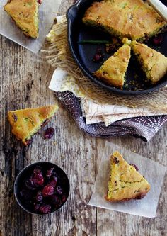 Jalapeno Cranberry Skillet Corn Bread - thanksgiving