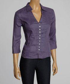 Look at this #zulilyfind! Midnight Blue Linen V-Neck Button-Up by Como No? by Biz #zulilyfinds