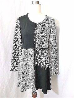 NWOT TRUE ESSENCE Sz PS-S-M BLACK & WHITE LAGENLOOK TUNIC LONG TOP/DRESS #TrueEssence #KnitTop #any