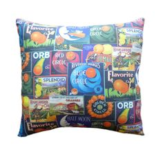 Vintage Orange Crate Labels 14 X Inch Pillow Cover By Vpauld 23 50