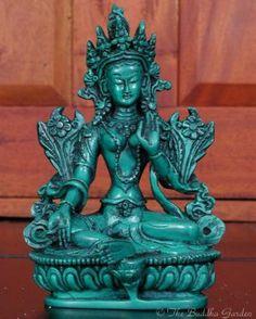 Green Tara Statue in Resin, 6 Inches - Price $32.95 - FROM www.TheBuddhaGarden.Com