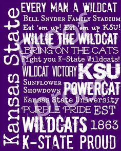 Kansas State Wildcats KSU Subway Art Print 11x14. $18.00, via Etsy.