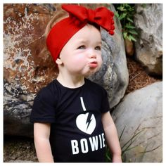 """Little Wonderland Clothing on Instagram: """"Today we will be honoring David Bowie! ❤️ Lily <that face, melts me>❤️ In our I ❤️ Bowie Leo + cute Pom headwrap @mimi_makes  Such a Doll!!! Xoxo ✌️ #babe #fashion #fashionista #kidsfashion #girl #streetwear #leo #hipkidfashion #trendy #style #igkiddies #stylish #stylishkids #rad #boss #love #ootd #bowie #love #fleece #chic #epic #fashionicon #supermodel #rocknroll #alternative #icon"""