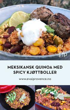 MEKSIKANSK QUINOA MED SPICY KJØTTBOLLER Tex Mex, Bon Appetit, Quinoa, Chili, Spicy, Curry, Beef, Food, Cilantro