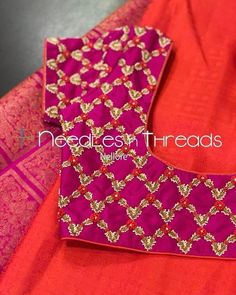 53 Trendy ideas for embroidery dress diy sweets Hand Work Blouse Design, Simple Blouse Designs, Stylish Blouse Design, Bridal Blouse Designs, Blouse Neck Designs, Dress Designs, Maggam Work Designs, Pattu Saree Blouse Designs, Designer Blouse Patterns