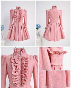 Elegant Sweet Lutos Woolen One Piece Dress