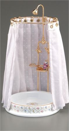 Gold Crosshatch Shower | Mary's Dollhouse Miniatures