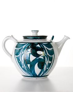 Alan Caiger-Smith, British, Teapot_ earthenware, tin glazed_lustre decoration_wood fired_reduced