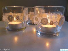 glas,loppis,värmeljus,dekoration,shabby chic