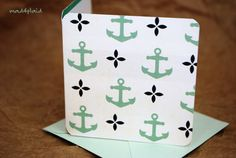 Blank Mini Card Set of 10 Cute Anchors with by mad4plaid on Etsy, $5.00