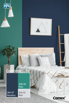 Logra el balance perfecto de color en tu proyecto seleccionando 3 tonos distintos, 60% color predominante, 30% color intermedio y 10% color de acento. Con #Combina3C® podrás elegir los colores adecuados para renovar tu hogar. ¡Inténtalo! #Combina colores y transforma tu espacio. Home Decor Colors, Bedroom Colors, House Colors, Bedroom Decor, Hallway Paint Design, Home Wall Colour, Home Wall Painting, Simple House Plans, Living Room Color Schemes