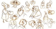 """carrececile: """"Some character sketches I did while working on our FX movie """"Soup'cière"""" """""""
