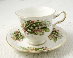 Vintage Royal Vale Flower Tea Cup and Saucer Bone by TheAcreage