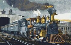 The Night Express Steam Train Counted Cross Stitch Pattern / Chart,  Instant Digital Download   (AP257)