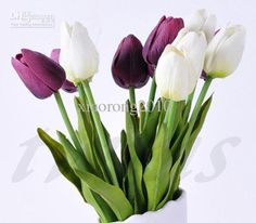 Wholesale WHITE 34cm PU Latex Real Touch Artificial Simulation Tulip Flower Wedding Bridal's Bouquets, 1.27/Piece | DHgate