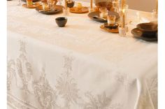 Beauregard Ivory luxury Tablecloth for Holiday tables. Made in France by Garnier-Thiebaut.