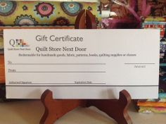 Gift Certificates Are Available – Quilt Store Next Door Gift Certificates, Quilts, Store, Business, Pattern, Handmade, Comforters, Tent, Quilt Sets
